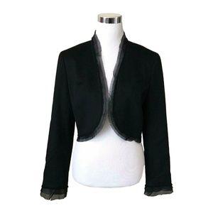 Lafayette 148 Black Wool Cashmere Blazer Short